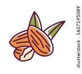 almond color line icon. nuts...