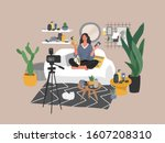 beauty blogger streaming. woman ... | Shutterstock .eps vector #1607208310