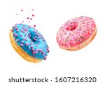 Small photo of Fresh sweet donuts in motion with multicolored fruit glaze and sprinkles decorated. Fast sweet food concept, bakery ad design elements with glazed frosted falling doughnuts isolated, white background