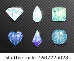 precious stones and gems ... | Shutterstock .eps vector #1607225023