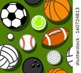 sport balls on green seamless... | Shutterstock .eps vector #160724813
