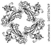 floral hand drawn vector... | Shutterstock .eps vector #1607256769