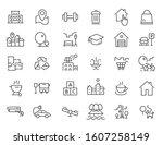 set of linear residential... | Shutterstock .eps vector #1607258149