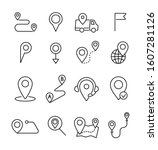 geolocation thin line icons set.... | Shutterstock .eps vector #1607281126