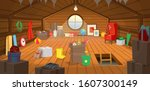 The Wooden Attic Interior With...