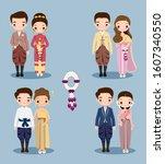 cute thai couple cartoon in... | Shutterstock .eps vector #1607340550