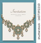 elegant jewelry necklace with... | Shutterstock .eps vector #1607392210