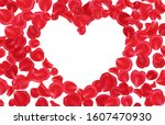 red rose petals frame isolated... | Shutterstock . vector #1607470930