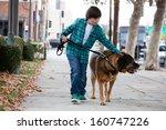 Stock photo a year old boy walking a big mastiff dog 160747226