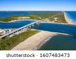 Scenic Aerial View of the World-Famous Surfing destination, the Sebastian Inlet. Aerial waterway view of the Sebastian Inlet and Atlantic Ocean