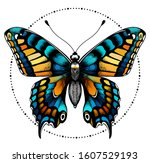 beautiful butterfly in circle... | Shutterstock .eps vector #1607529193