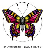 beautiful butterfly in circle... | Shutterstock .eps vector #1607548759