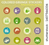 cafe colored grunge icons with...