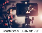 Video DSLR Monitor Display with Recording Function. Modern Videography Equipment. Film Industry. - stock photo