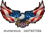 american eagle with usa flags | Shutterstock .eps vector #1607607286