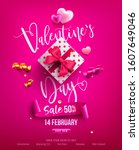 valentine's day sale poster or... | Shutterstock .eps vector #1607649046