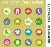 clothes colored grunge icons... | Shutterstock .eps vector #1607661373