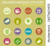 cinema colored grunge icons... | Shutterstock .eps vector #1607661403