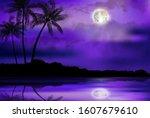 illustration of tropical beach... | Shutterstock .eps vector #1607679610