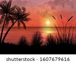 a tropical sunset or sunrise... | Shutterstock .eps vector #1607679616
