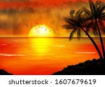 a tropical sunset with palm... | Shutterstock .eps vector #1607679619