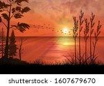 a tropical sunset or sunrise... | Shutterstock .eps vector #1607679670