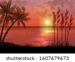 a tropical sunset or sunrise... | Shutterstock .eps vector #1607679673