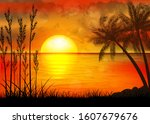 a tropical sunset with palm... | Shutterstock .eps vector #1607679676