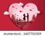 young couple holding hands in... | Shutterstock .eps vector #1607702509
