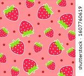 cartoon fruit pattern.cute... | Shutterstock .eps vector #1607760619