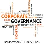A word cloud of corporate governance related items - stock vector
