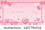 valentine theme with pink... | Shutterstock .eps vector #1607784526