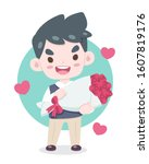 valentines day  cute style in... | Shutterstock .eps vector #1607819176