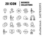 business icons set. icons for... | Shutterstock .eps vector #1607833093