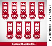 red discount shopping tags with ...   Shutterstock .eps vector #160783634