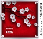 chinese new year 2020 banner.... | Shutterstock .eps vector #1607839300