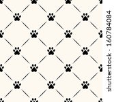 Seamless animal pattern of paw footprint. - stock vector