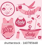it's a girl labels and icons... | Shutterstock .eps vector #160785668