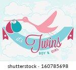 stork carrying newborn twins.... | Shutterstock .eps vector #160785698