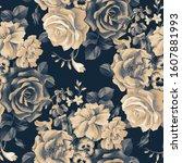 monochrome floral botanical... | Shutterstock . vector #1607881993
