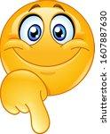 happy emoji emoticon pointing... | Shutterstock .eps vector #1607887630
