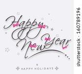 stylish text happy new year on...
