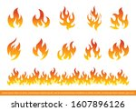 fire flames icon set flat style.... | Shutterstock .eps vector #1607896126