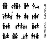 family icon set on black and... | Shutterstock .eps vector #160792268