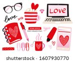 home office valentine's day... | Shutterstock .eps vector #1607930770