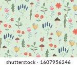 spring themed seamless pattern... | Shutterstock .eps vector #1607956246
