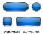 web buttons. blue shiny icons... | Shutterstock .eps vector #1607980786