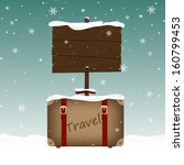 travel suitcase and a wooden... | Shutterstock .eps vector #160799453