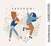 freedom concept. feminism... | Shutterstock .eps vector #1608019330