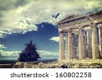 parthenon temple on the... | Shutterstock . vector #160802258